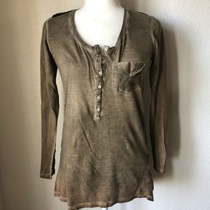 Zara Woman Olive Green Silk Blend Henley Top